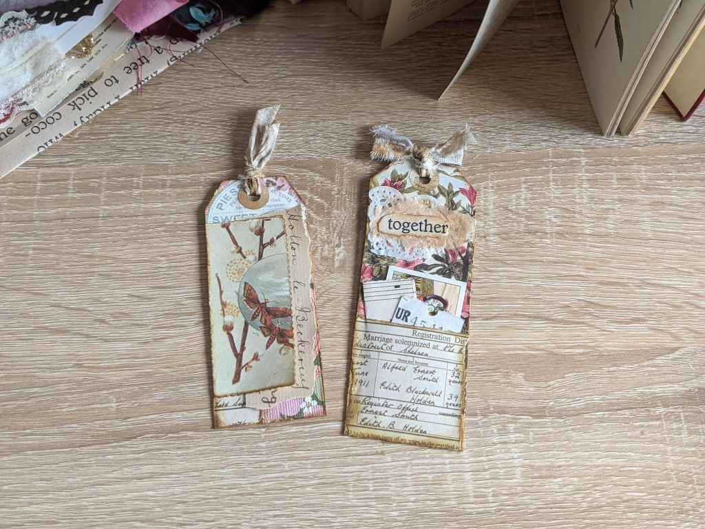 More junk journal tags made from scraps and real junk