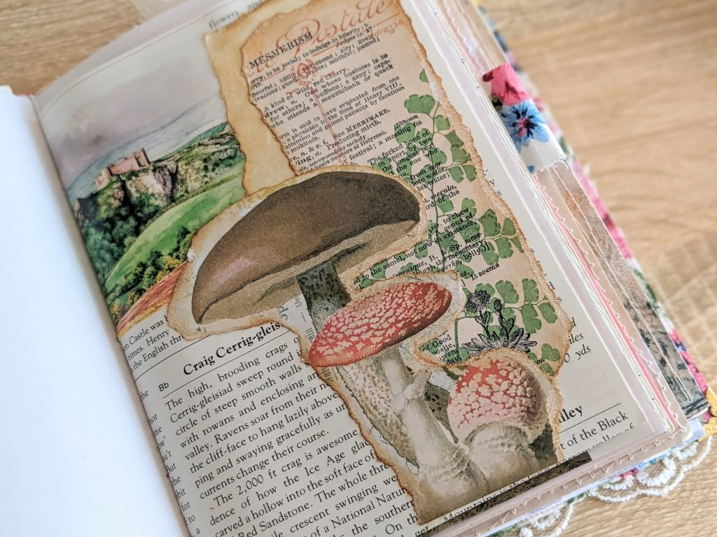 Collaged junk journal page